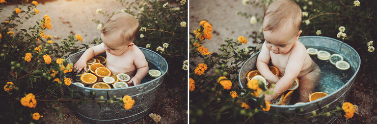 Lots of flowers and fruit to explore during his fruit bath session