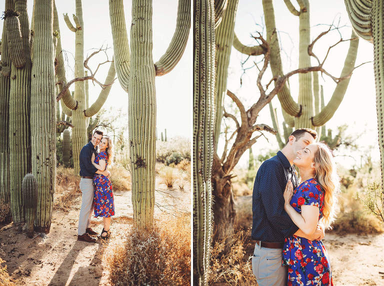 Saguaros and snuggles for Shaun and Ally during their engagement session with Tucson engagement photographer Belle Vie Photography