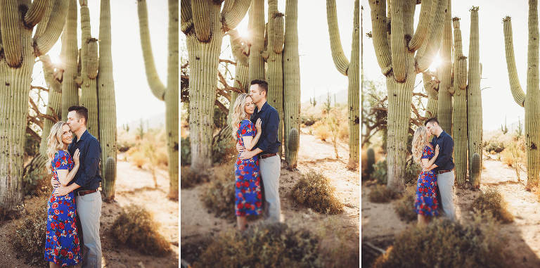 Shaun and Ally during their sunset desert engagement session at Sabino Canyon with Belle Vie Photography