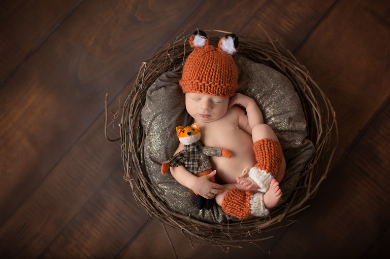 Newborn portrait session of a little boy in a fox outfit