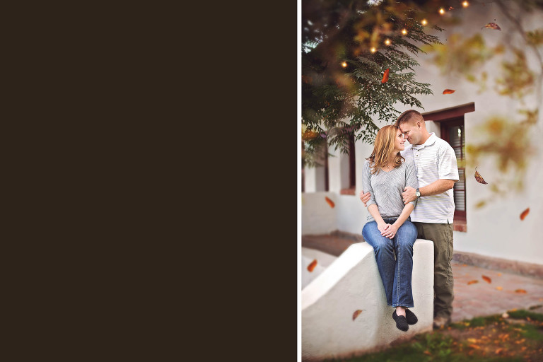 Husband and wife kiss under the twinkle lights and falling leaves during their family photo session at the Tubac Golf Resort.
