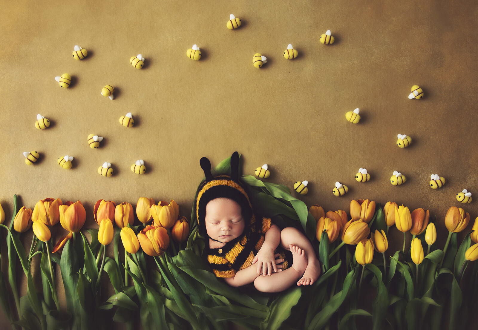 Newborn baby dressed as a bee laying in a nest of yellow tulips by Wiesbaden newborn photographer