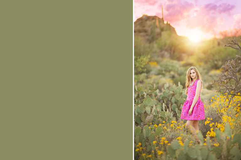 A gorgeous girl stands amongst the cacti and spring desert flowers in Saguaro National Park with a pastel sunset and the Catalina Mountains at her back