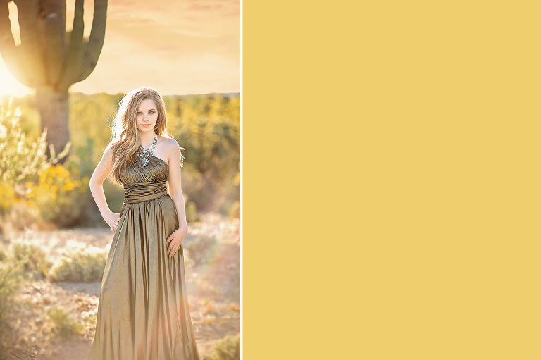 A young woman poses like a goddess amongst the saguaros and desert flowers of Saguaro National Park during her portrait session with Belle Vie Photography