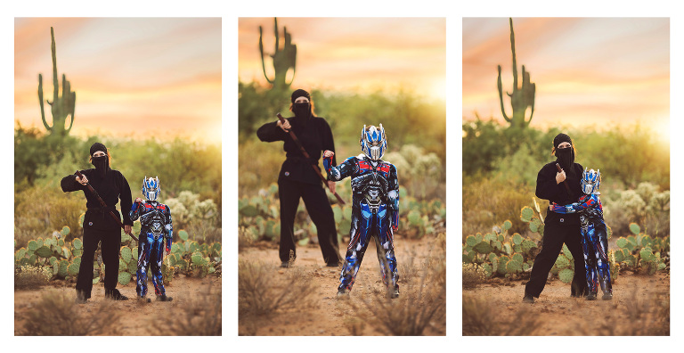 Mother and son Halloween portraits in the sonoran desert of Tucson at sunset