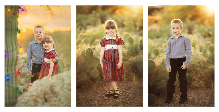 A brother and sister stand amongst the prickly pear in their holiday attire for sunset Christmas photos in a Tucson park