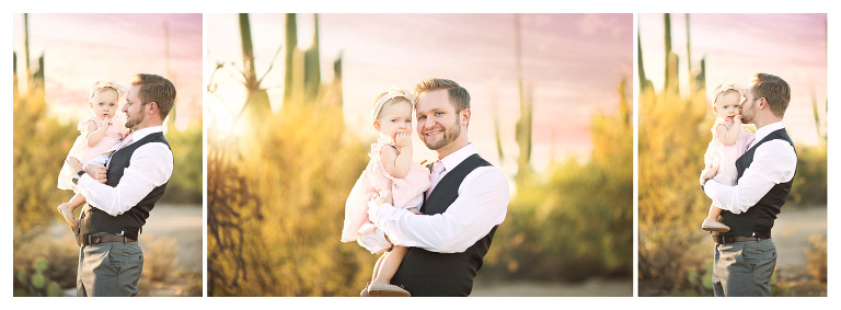 Dad and daughter amidst the saguaros at Sabino Canyon in Tucson