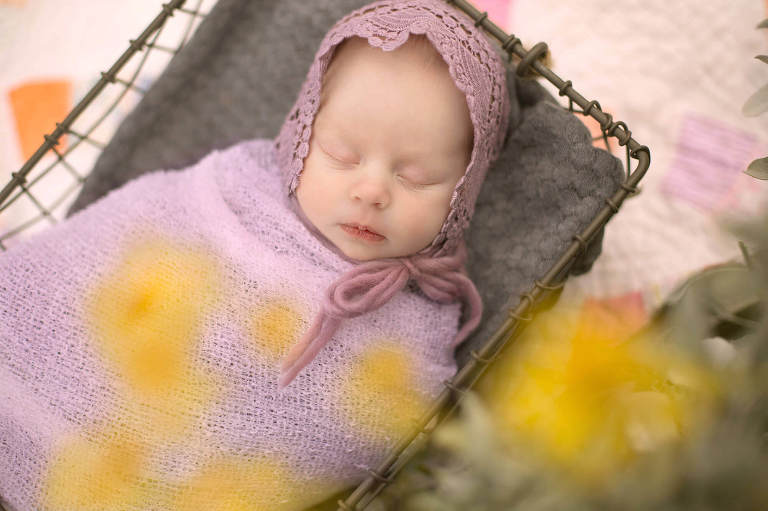 Outdoor newborn session amongst the flowers of spring