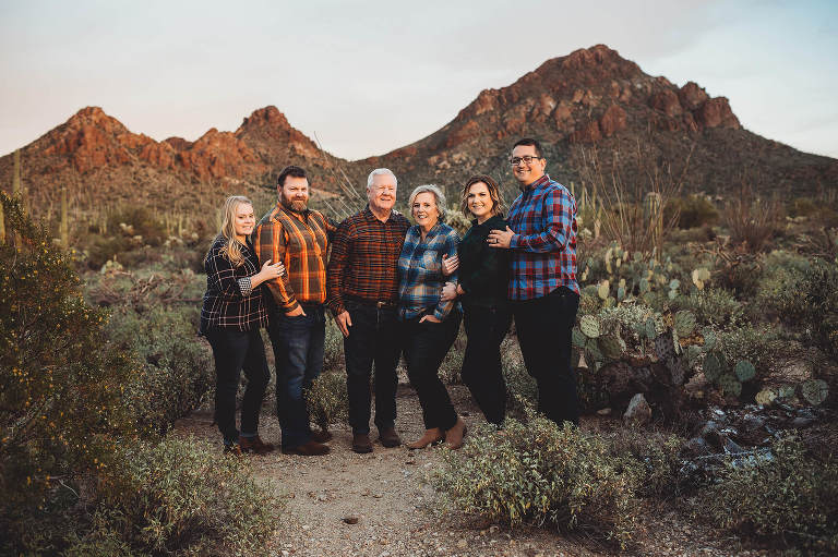 A family celebrates love during this anniversary photo session at Gates Pass in Tucson