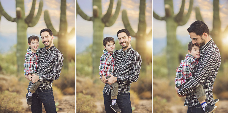 Father and son, laughing and cuddling with a saguaro and sunset backdrop in Tucson during their family holiday photo session