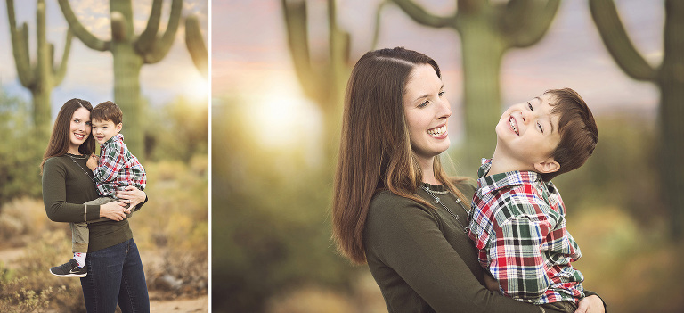 Mother and son giggles and cuddles during a family holiday photos session in the Tucson desert with a saguaro and sunset backdrop