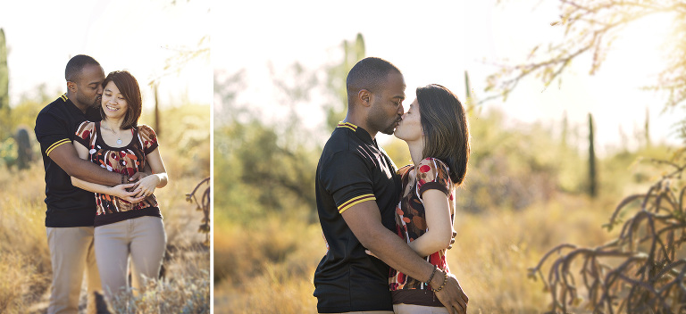 A husband and wife get intimate amongst the desert plants during their photo session at Sabino Canyon in Tucson