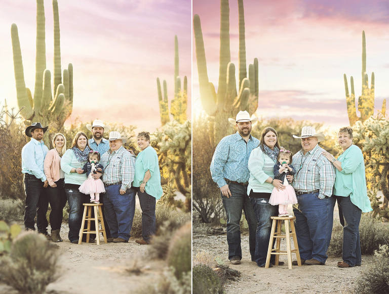 Mom, dad, daughters, son-in-laws and granddaughter pose amongst in the desert with a pastel sunset and saguaros as their backdrop during their family photo session at Sabino Canyon in Tucson.
