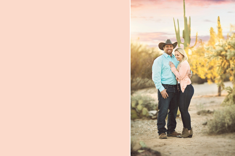 Husband and wife share a laugh under Tucson's pastel skies with saguaros in the background during their sunset family photo session at Sabino Canyon in Tucson.