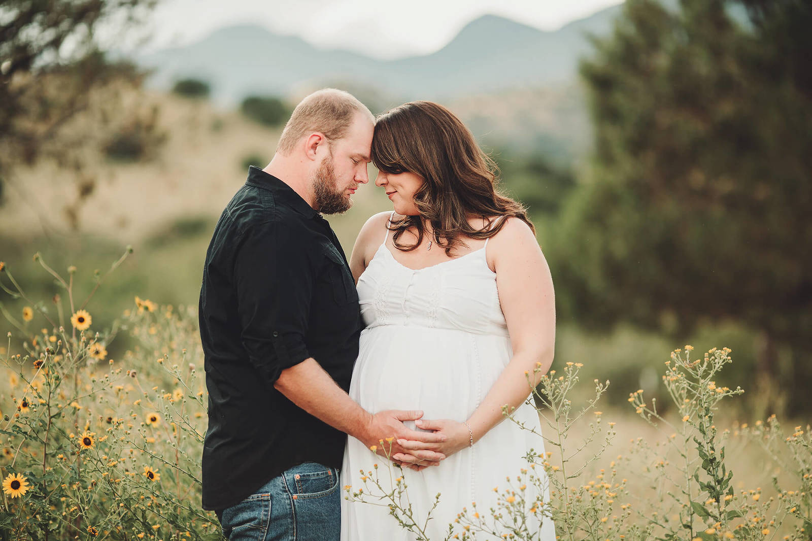 Adrianna and her husband during their fall maternity session at Brown Canyon in Sierra Vista