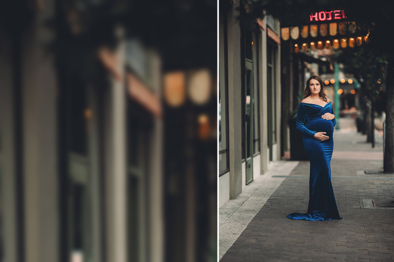 A maternity session in front of Hotel Congress in downtown Tucson