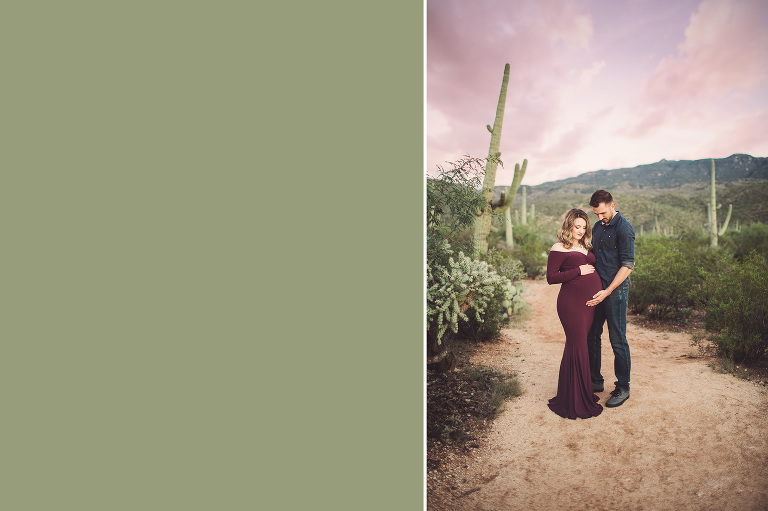 Parents to be lovingly gaze on mom's baby bump during their sunset maternity session under cotton candy skies in Tucson