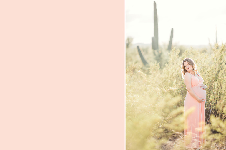 Maternity session amongst saguaros in with Tucson maternity photographer Belle Vie Photography