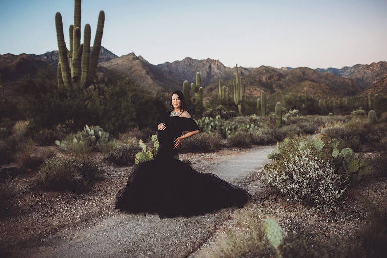 The beautiful Aubree wearing one of my client maternity gowns in the picturesque setting of Sabino Canyon