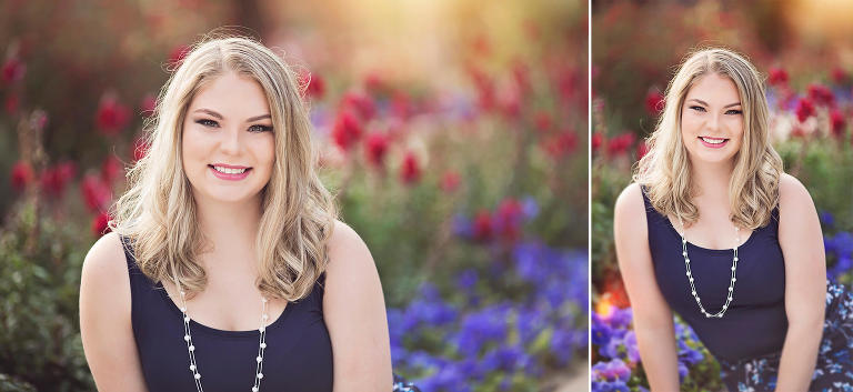 High school senior Olivia sits amongst the spring flowers at the University of Arizona during her senior portrait session