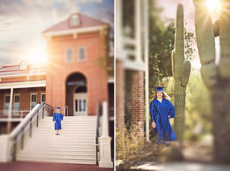 High school senior Olivia stands on the steps of the University of Arizona Old Main building in her cap and gown