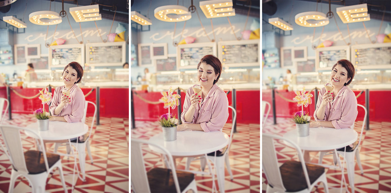Local food blogger Lady Lunching looks gorgeous with her ice cream cone in the darling Hub Ice Cream Factory in downtown Tucson
