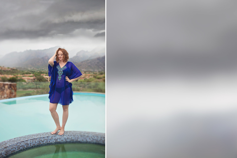 The Hacienda Del Sol resort pool and mountain views on a rainy day with Phoenix blogger Mandy Holmes