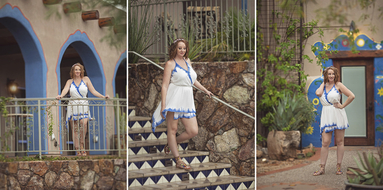 Blogger Mandy visits Hacienda Del Sol and tours it's grounds while wearing a Grecian-style white summer dress