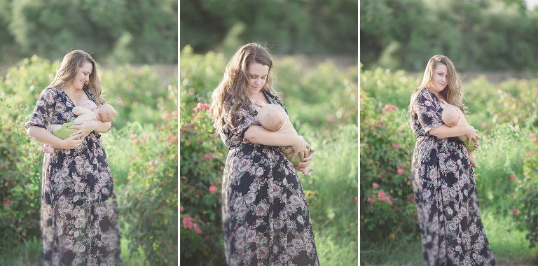 A breastfeeding session with breastfeeding photographer Belle Vie Photography at Tucson's Reid Park rose garden