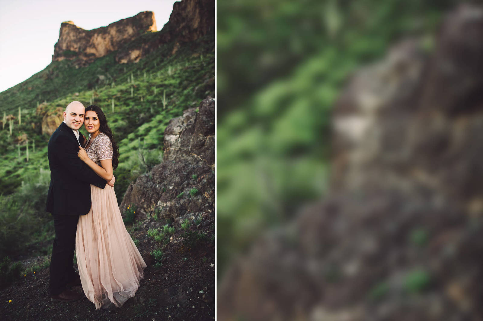 A loving couple celebrates their engagement during a sunset photo session at Picacho Peak in Arizona with Belle Vie Photography