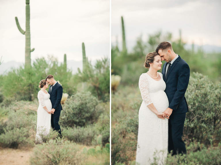 An intimate moment between newly married man and wife in the desert just outside of Tucson.
