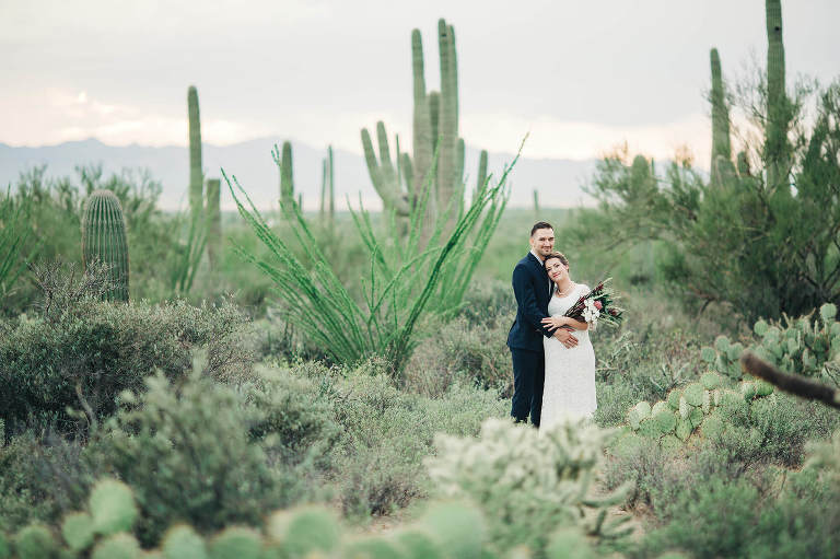 A beautiful location for this gorgeous couple's elopement, the Sonoran desert just outside of Tucson.