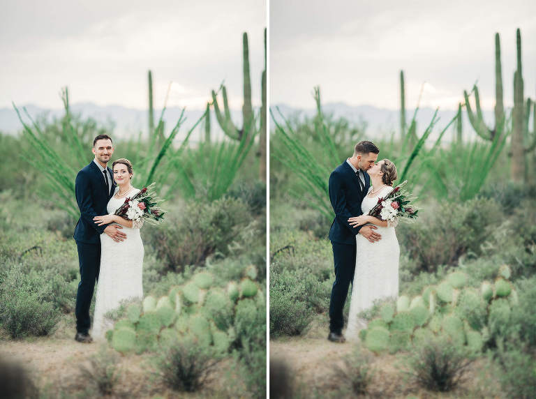 A loving kiss for the bride and groom after their imitate desert elopement ceremony in Tucson.