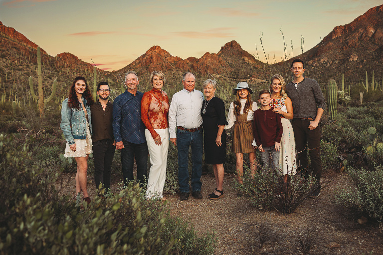 The mountains of Gates Pass in Tucson make a beautiful backdrop for this incredible family during their family photo session with Belle Vie Photography in Tucson