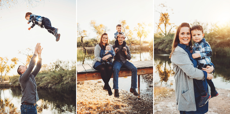 The Schlosser family near the lake at Tanque Verde Guest Ranch during their sunset photo session with Belle Vie Photography