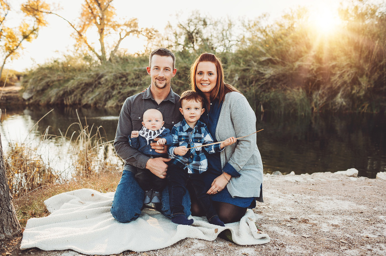 The Schlosser family at Tanque Verde Guest Ranch for sunset family photos