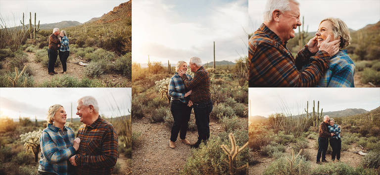 A couple revels in their longtime love for one another during their sunset photo session with the Lindley family in Tucson