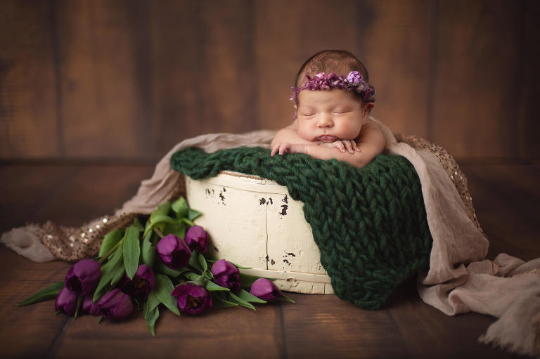 Newborn Valentina in a bucket next to fresh tulips during her newborn session with Tucson newborn photographer