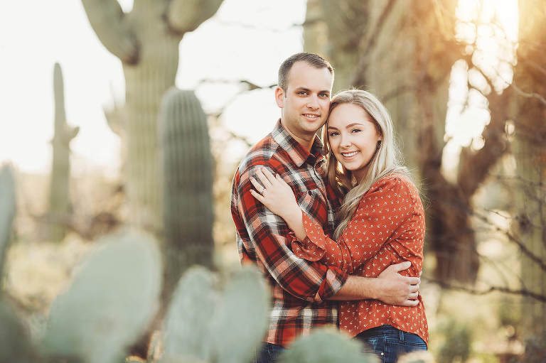 The Freeman's cuddle during their sunset couple's session at Sabino Canyon