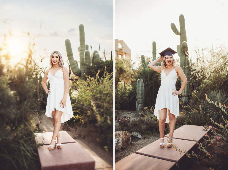 Saguaros are a must when having grad photos taken at the University of Arizona
