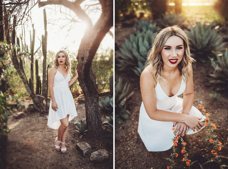 Shelby stands amongst desert flora at the University of Arizona during her senior grad session with Belle Vie Photography