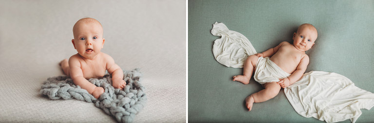 A three-month milestone session of a baby boy with wood backdrops