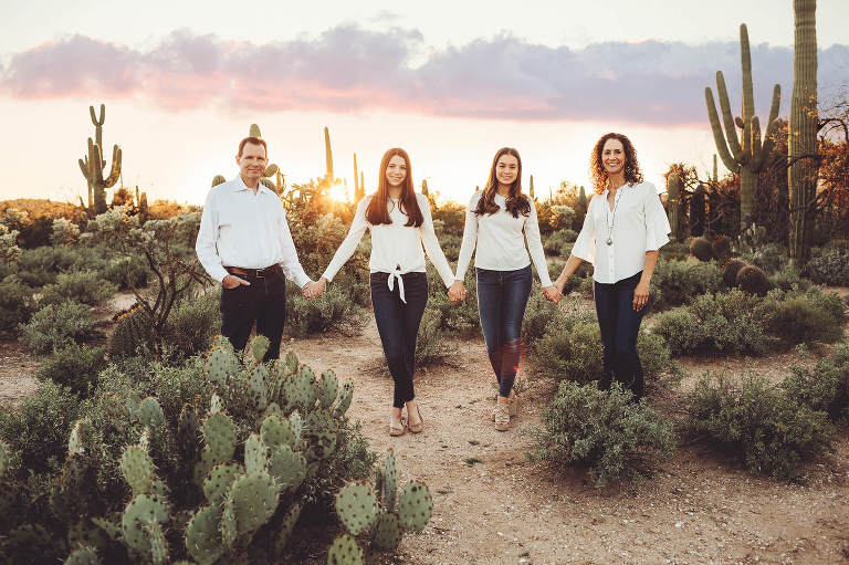 Sunset at Sabino Canyon during the Marquart family's photo session