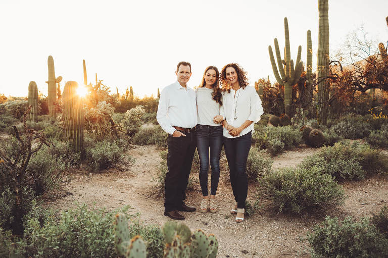 Mom and dad and their youngest daughter at Sabino Canyon