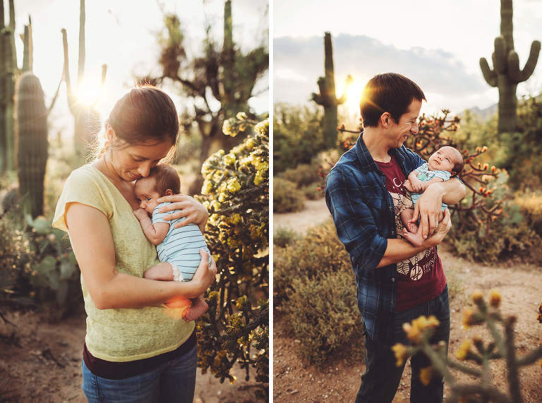 Mom and dad hold their baby boy close during their family session at Sabino Canyon.