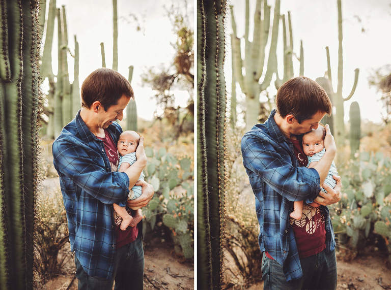 Dad cherishes the closeness of his new son during their family photo session at Sabino Canyon in Tucson with Belle Vie Photography