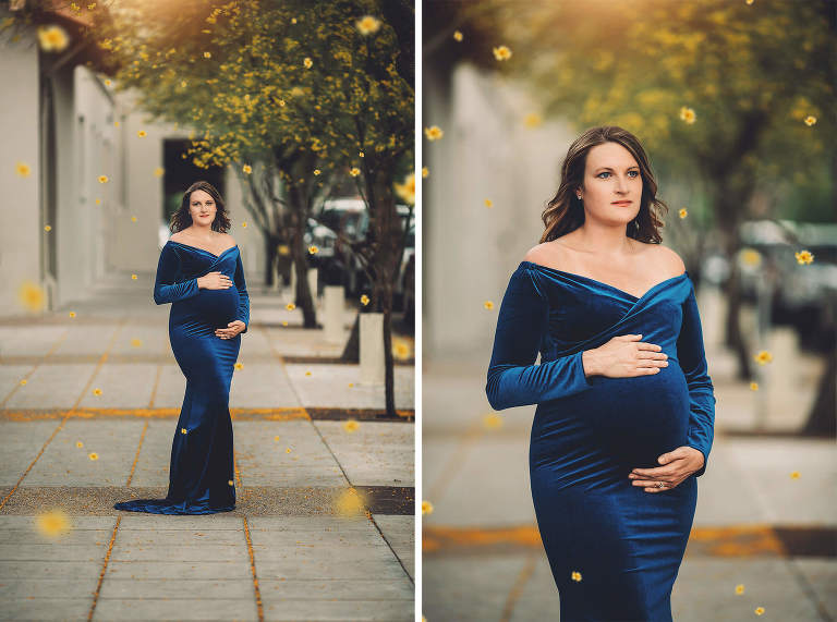 Urban maternity session at its finest in downtown Tucson with falling palo verde blossoms