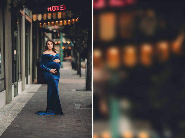 A maternity session in downtown Tucson in front of Hotel Congress