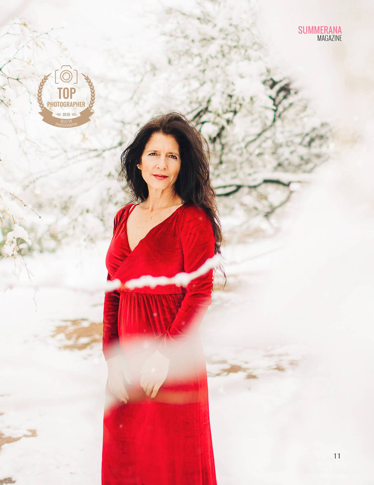 Top Photographer Summerana Magazine January 2020 a woman in the snow in a red dress